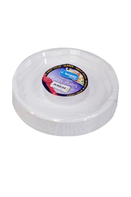 "Pack Of 50 White Disposable Plastic Plates 9"" perfect for BBQ and Parties"