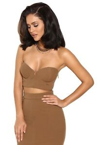 House of CB / Camel Crepe Bustier Two Piece