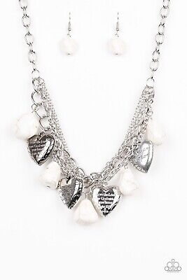Paparazzi Silver 'Change Of Heart' White Scripture Necklace Set