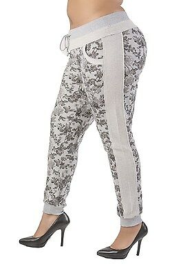 Poetic Justice Curvy Women's Plus Size Grey French Terry Floral Jogger Pant