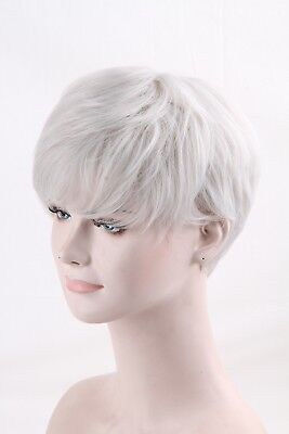 Men Male Boys Cosplay Hair Wig Short Pixie Straight Synthetic Wig Blonde White