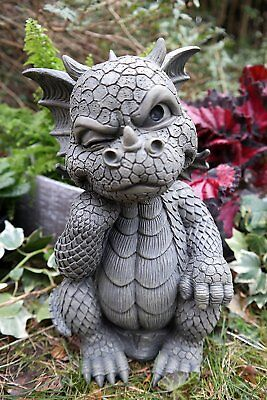 "The Thinker Whimsical Garden Dragon Statue 10""H Cute Baby Dragon Winking Eye"