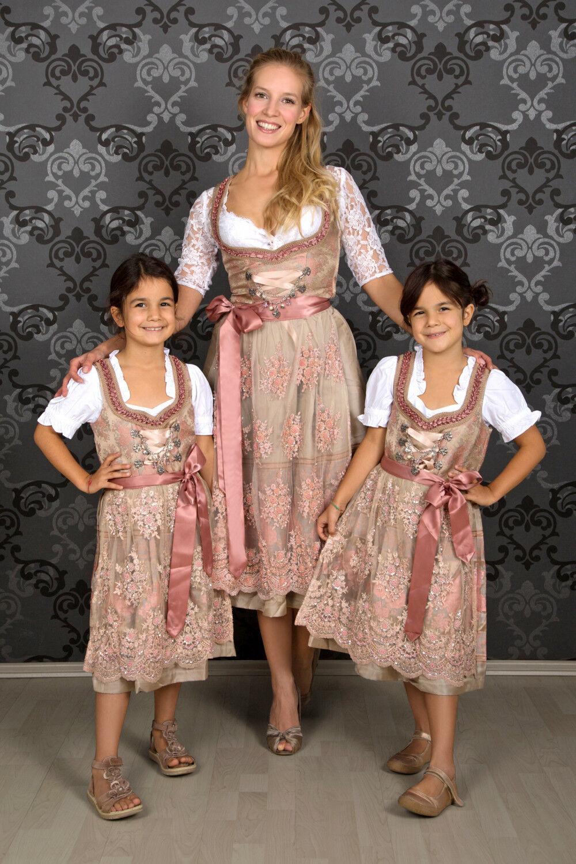 Kinder Dirndl Rosalie 3 teilig  Kinderdirndl  mit Bluse und Schürze