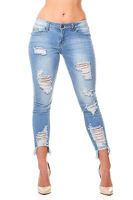 VIP Jeans Ripped Distressed Skinny jeans for women Junior / Plus size 5 - Juniors Distressed Skinny Jeans