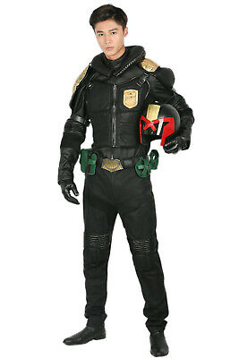 Judge Dredd Costumes (Judge Dredd Costume Leather Uniform Cosplay Prop Suit Mask High Quality Full)