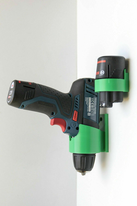 Wandhalter für Bosch GSR 12V-Akkuschrauber und einem Akku