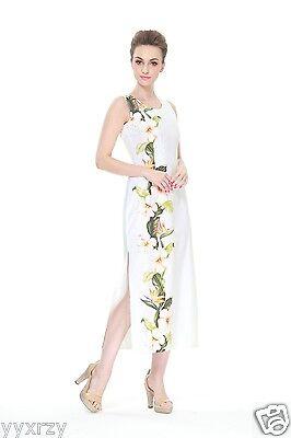 White Luau Dress (Made In Hawaii Women's Hawaiian Luau Maxi Tank Dress in White Side Floral)