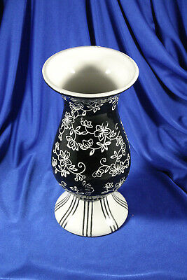 Black & White Floral / Striped Deco Combo Vase & Candle Holder / 8 1/2