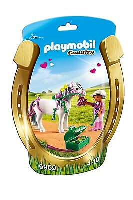 New! PLAYMOBIL 6969 Groomer with Heart Pony Playset Ages 4-10