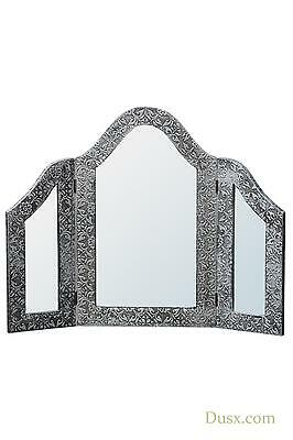 Blackened Silver Metal Embossed Triple Dressing Table Mirror