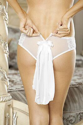 Sexy Honeymoon Sweet White Embroidery Detail Button Back Panty w/Veil. Wedding