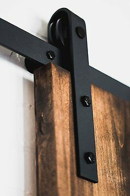 6FT China Rustic Steel Black Sliding Barn Wood Door hardware track wheel kit