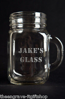 Personalised Drinking Jam Jar Tennessee Handled Glass Tankard  16oz & gift box