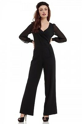 VOODOO VIXEN RETRO RESEMARY BLACK GOTHIC WITCH JUMPSUIT SHIRT PANTS JSA5615 Clothing, Shoes & Accessories