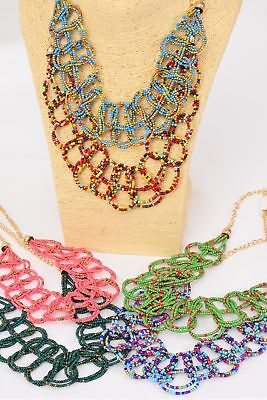 BULK LOT OF 12 SEED BEAD NECKLACES WIDE GOLD CHAIN BRAIDED BEAD BIB JEWELRY - Bulk Bead Necklaces