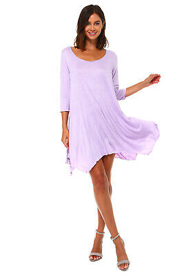 New Women's Lavender Loose Handkerchief Swing Dress Tunic S M L XL 1X 2X 3X USA - Casual Lavender Dress