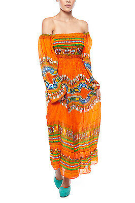 Womens Stretchy Off Shoulder Wide Long Sleeves Dashiki African Maxi Dress