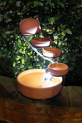 ASC Sundance Terracotta Solar Water Fountain Cascade w/ Battery/Timer LED (Cascade Solar Lights)