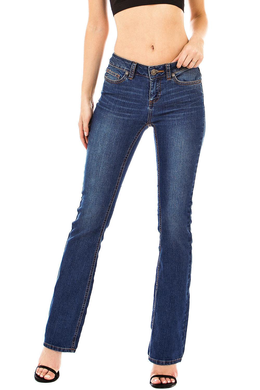 Wax Jeans Women's Vintage Mid Rise Flare Jeans Bootcut Pants