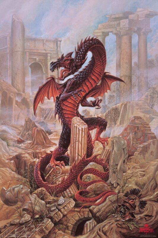 Dragon Art Pendragon - Alchemy Gothic Art Aquarius Fantasy Poster 24x36