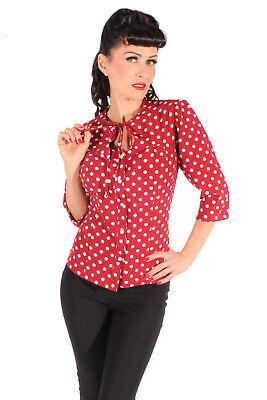 50s Keyhole Retro Rockabilly Polka Dots Schlüsselloch Bluse Weinrot Rot Polka Dot Polyester