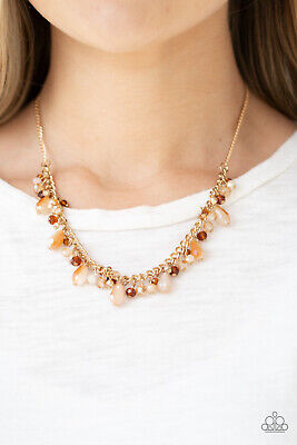Paparazzi Courageously Catwalk Gold Beads Gold Chain Necklace & -