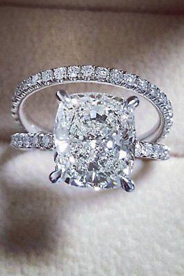 3.35 Ct Cushion Cut Diamond Engagement Ring Round Pave H,VS2 GIA Platinum 2