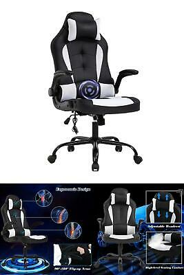 26.8 Inch Width Big Tall Black And White Mesh Gaming Chair W Tilt Control