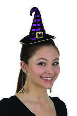 Mini Witch Hat Headband (Mini Witch Hat Headband With Dangling Metal Spiders Costume Accessory)