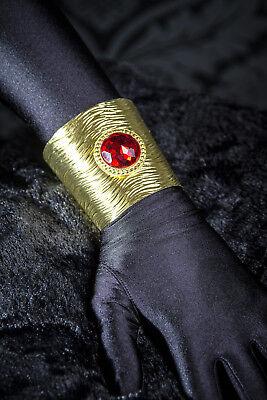 Armreif gold gebürstet mit rotem Steinen Cleopatra Kostüm Zubehör - Cleopatra Kostüm Zubehör