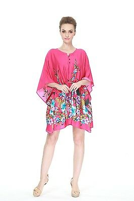 Poncho Dress Top Luau Tropical Cruise Hawaiian Tie Beach Plus Size Pink Rafelsia