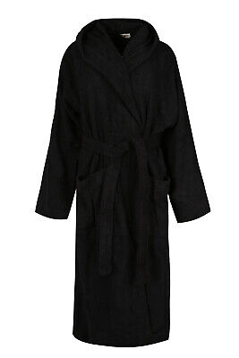 Black Luxury Hooded Bath Robe Women 100% Terry Cotton Toweling Dressing Gown - 100 Cotton Terry Cotton