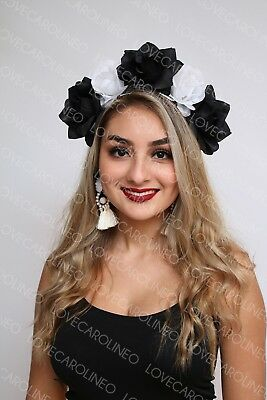 White Black Rose Flower Crown Headband Floral Headpiece Halloween Day of Dead