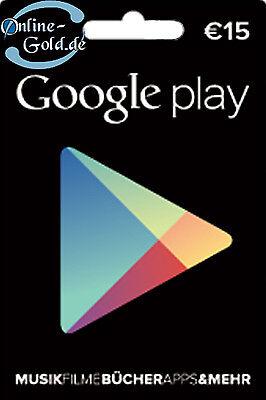 Google Play Card 15 Euro Guthaben Gutschein Key 15€ Eur Prepaid Code nur f. EU