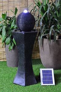 Solar powered Black Modern Garden Patio Water ORB Fountain SL0407 Athelstone Campbelltown Area Preview
