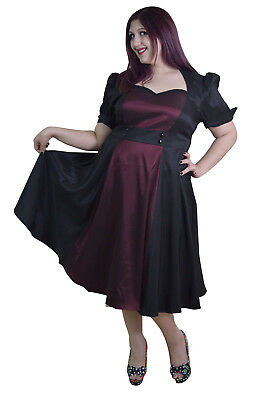 60's Vintage Queen of Hearts Two Tone Blak and Burgundy Satin Dress Plus size - Plus Size Queen Of Hearts