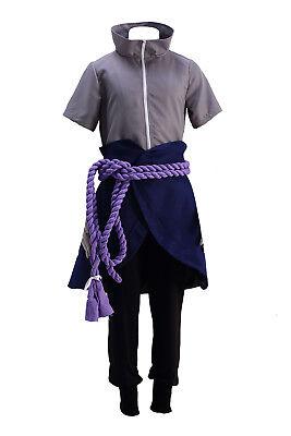 Naruto Shippuden Cosplay Costume Hidden Leaf Shinobi Uchiha Sasuke Outfit Set (Sasuke Uchiha Shippuden Kostüm)