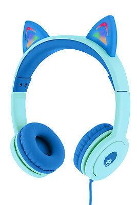 RockPapa Foldable Cat Ear Headphones Earphones for Kids Childrens Girls Blue