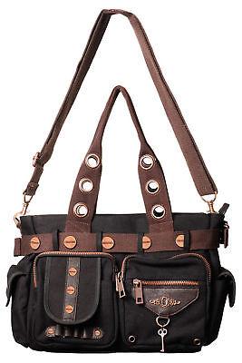 Lost Queen Vintage Lock Key Steampunk Canvas Tote Handbag Purse BBN727BLK