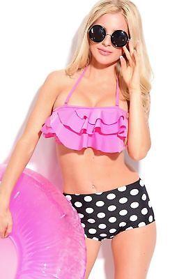 Women Two 2 Piece White Polka Dot Ruffled Halter High Waist Bikini Swimsuit Pink 2 Piece Pink Dot