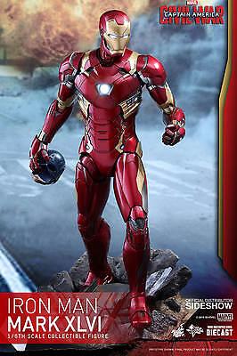 "12"" Iron Man Mark XLVI Diecast Civil War Hot Toys Sixth Scale Figure 902708"