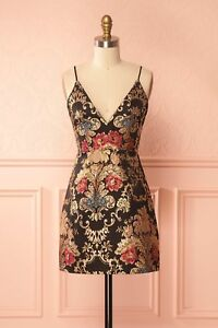 Orlane Black Cocktail Dress with Golden Embroideries SIZE M