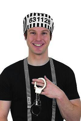 jailbird prisoner hat handcuffs suspenders halloween adult
