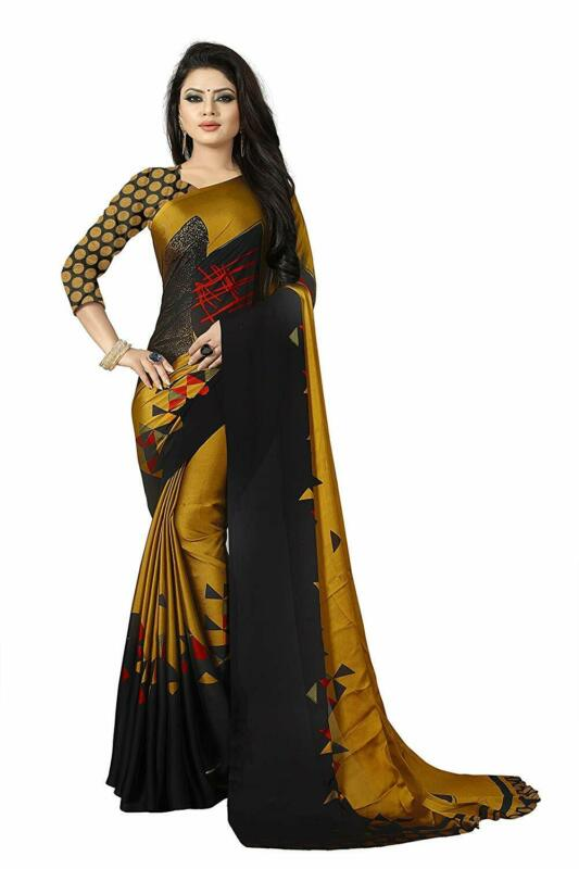 Gold & Black Bollywood Saree Party Wear Indian Pakistani Designer Sari