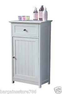 White Wooden Shaker Style Floor Standing Bathroom Cabinet Storage Cupboard
