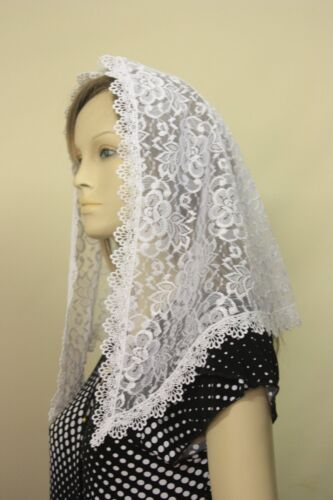 White veil mantilla Catholic church chapel scarf lace headcovering Mass WR2