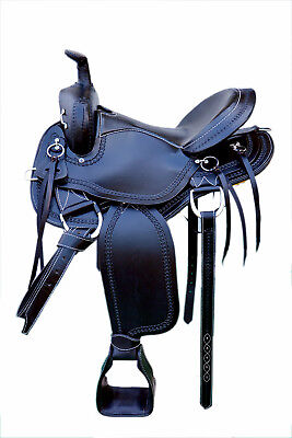 "Western Black Leather Hand Tooled Endurance Pleasure Trail Saddle : 17"" /Strings for sale  Shipping to Canada"