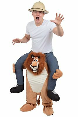 Adult Lion Shoulder Ride On Carry Fancy Dress Costume Mens Outfit New