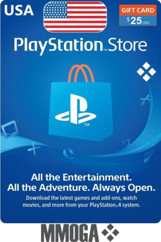 $25 USD PlayStation Network Store Card - PSN 25 US Dollar Prepaid Code - USA