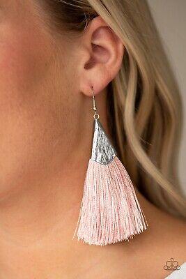 Paparazzi jewelry In Full Plume Pink Fringe Tassel Silver Dangle Earrings -